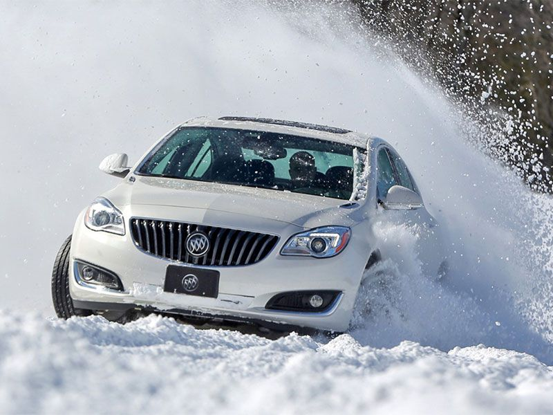 2017 Buick Regal AWD in snow front view