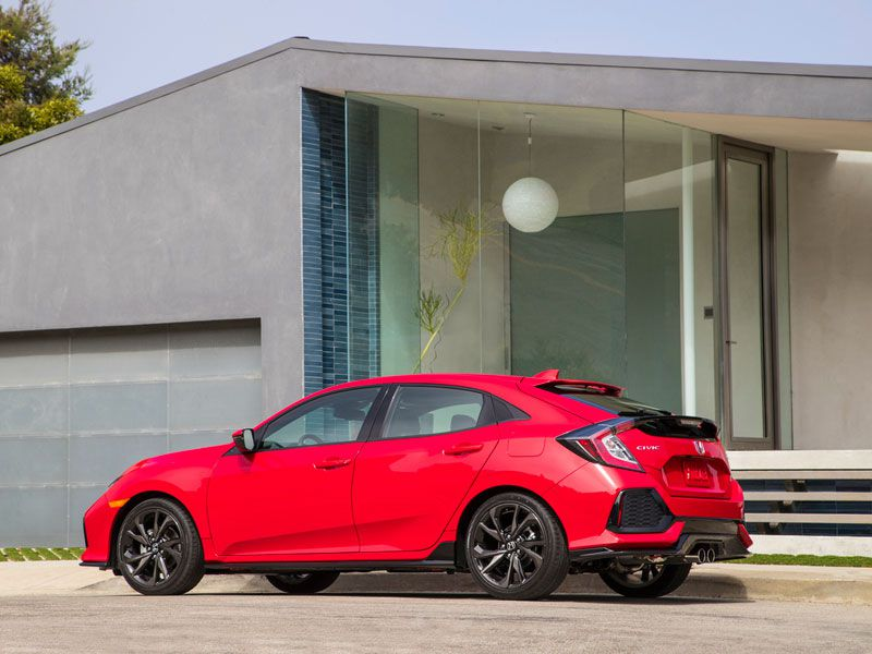 2017 Honda Civic Hatchback parked in front of house