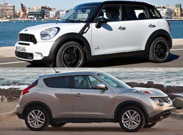 compare 2011 nissan juke vs 2011 mini countryman. Black Bedroom Furniture Sets. Home Design Ideas