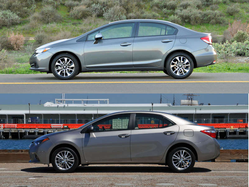 Back Comparison: Honda Civic vs. Toyota Corolla -- By the Numbers