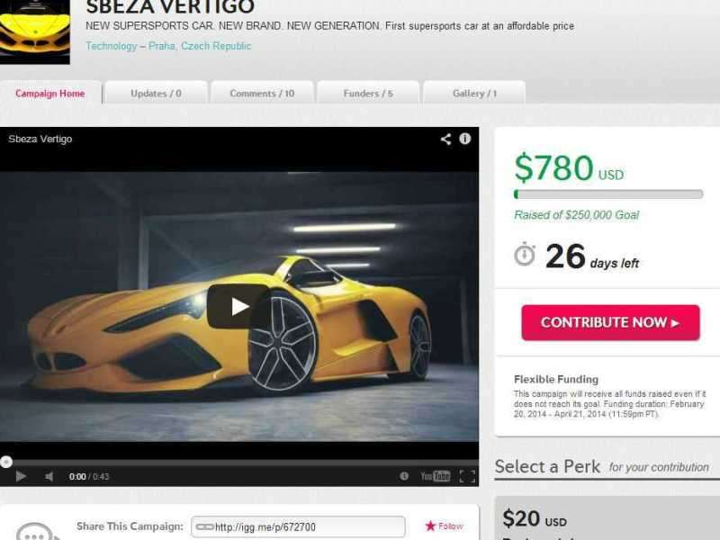 Indiegogo Campaign Launches for Sbeza Vertigo Supercar