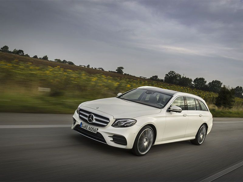2017 Mercedes Benz E400 4MATIC wagon on road