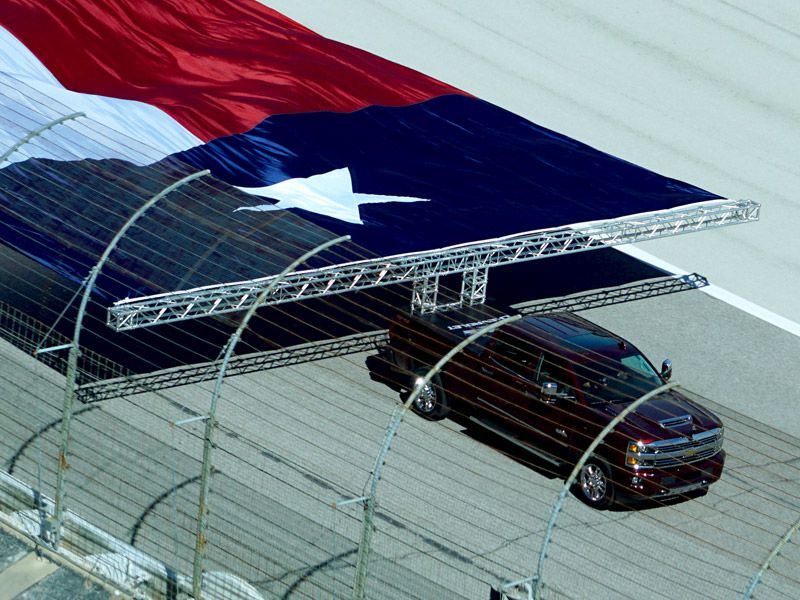 Chevy truck pulling Texas flag at 2016 Texas State Fair