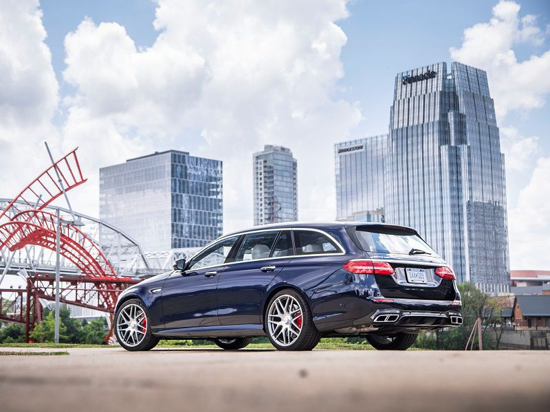 2019 Mercedes AMG E63 Wagon Blue Rear Three Quarter