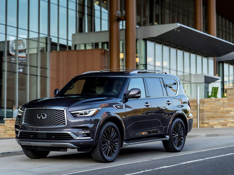 2019 Infiniti QX80 Dark Grey Parked Front Quarter
