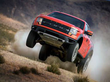 Ford Launches F-150 SVT Raptor Off a Sand Dune