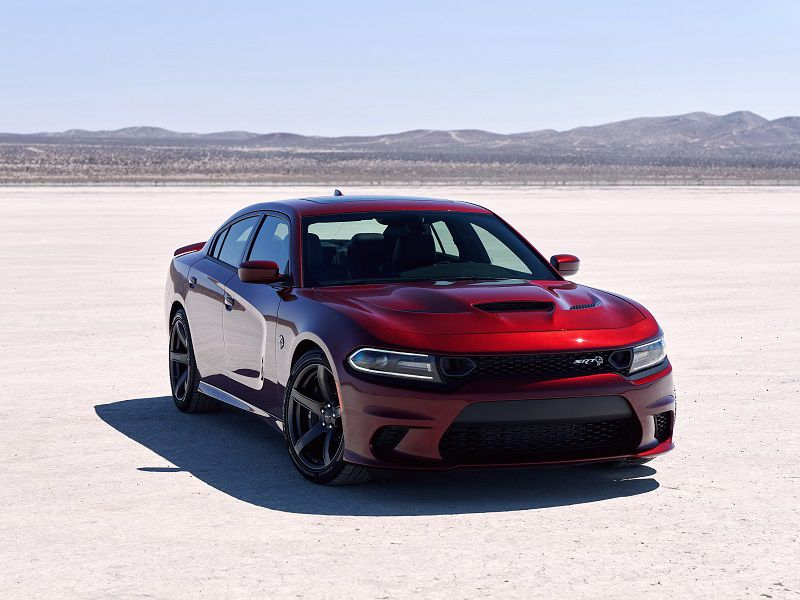 2019 Dodge Charger SRT Hellcat Red Parked Desert Front Quarter