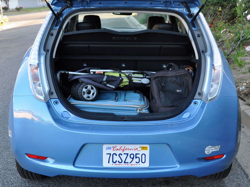 Ft Behind The Rear Seat Leaf S Trunk Is Huge Though Charge Cord Storage Bag Takes Some Of That E As Does Bose Subwoofer On Models