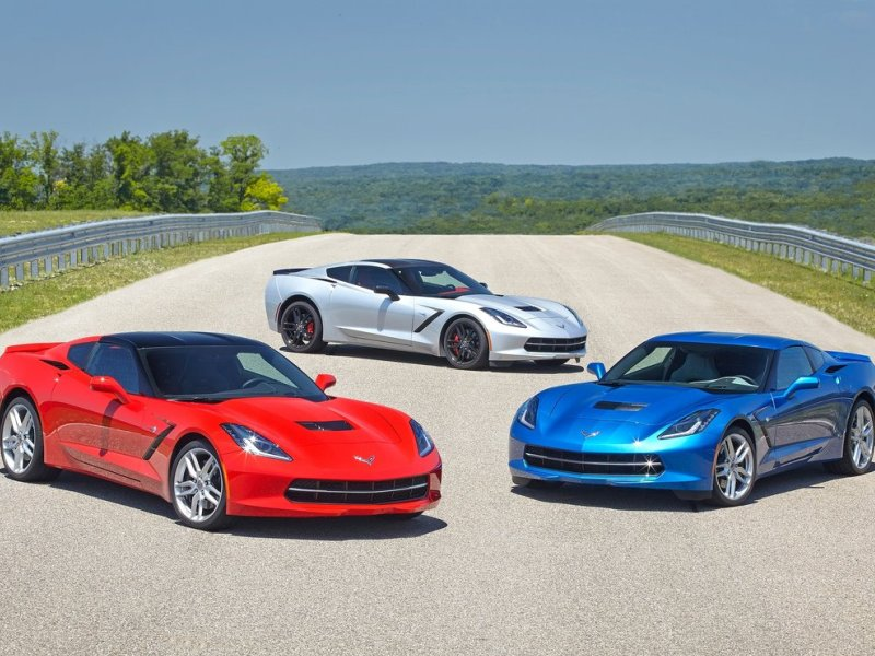 chevy corvette sports cars on track