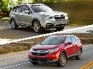 2017 Honda CR V vs 2017 Subaru Forester exterior on road