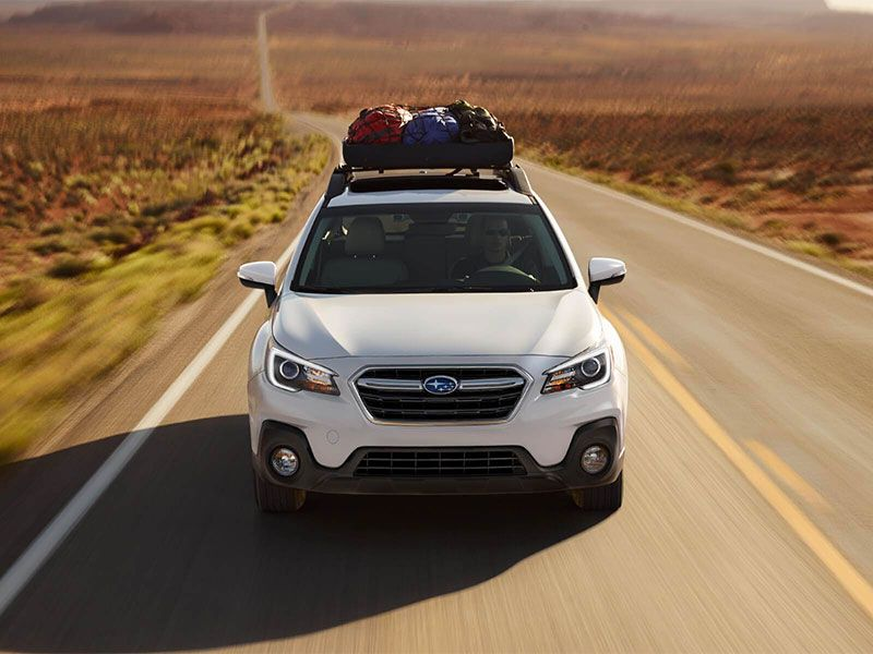 2018 Subaru OUTBACK EXTERIOR front view on road