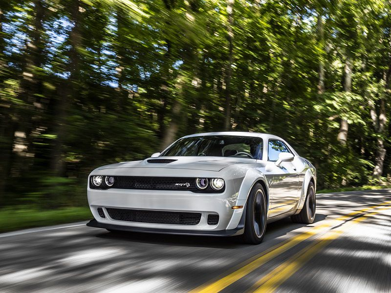 Dodge Challenger Hellcat Widebody front driving white