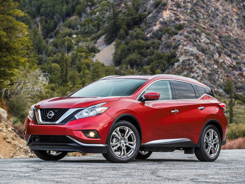 2018 Nissan Murano Red Parked Front Quarter