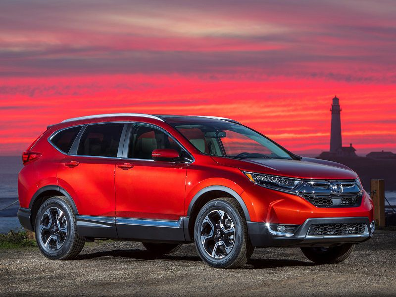 2018 Honda CR V Red Parked Front Quarter