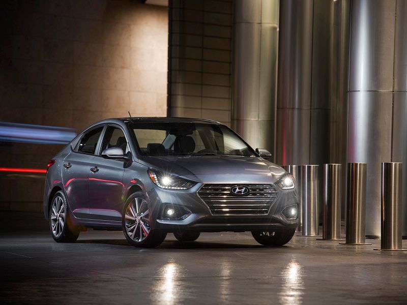 2018 Hyundai Accent Parked Grey Front Quarter Hero