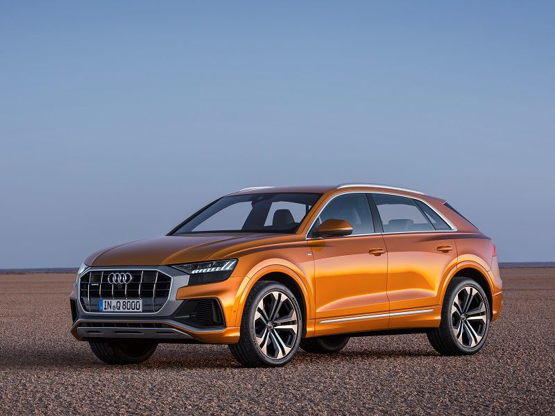 2019 Audi Q8 Orange Parked Desert Front Quarter