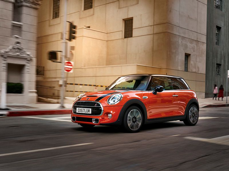 2019 MINI Cooper S Orange Driving Front Quarter
