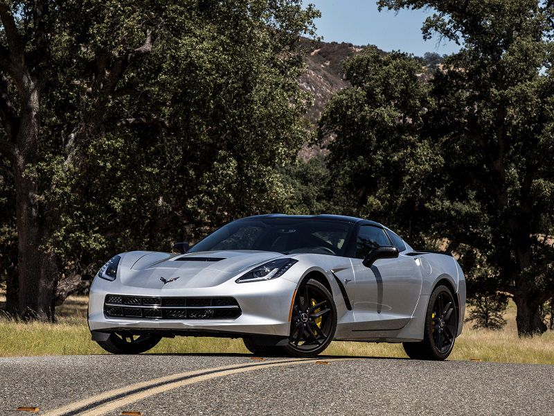 2019 Chevrolet Corvette Stingray Silver Parked Front Quarter