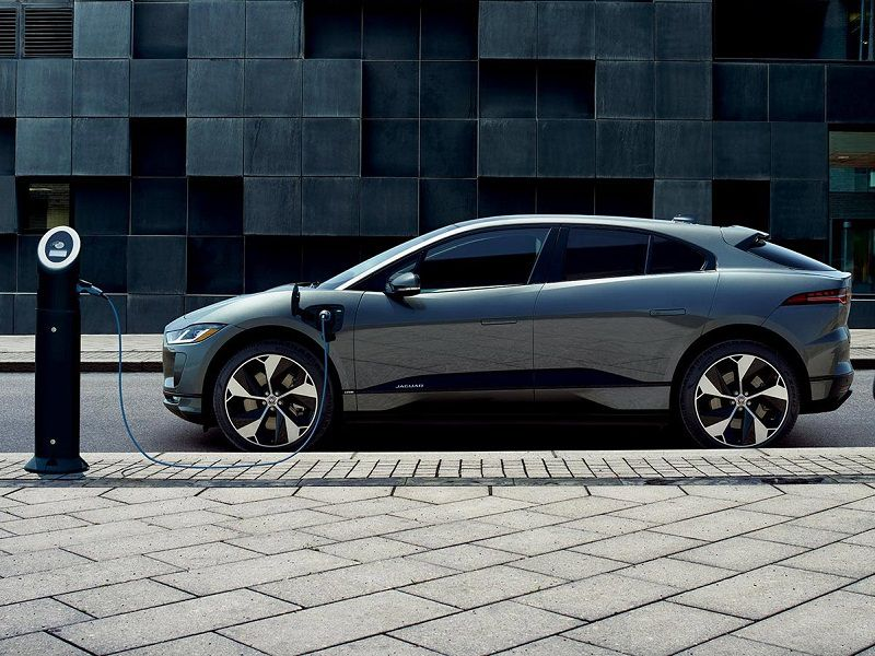 2019 Jaguar I Pace Grey Charging Parked Side Profile