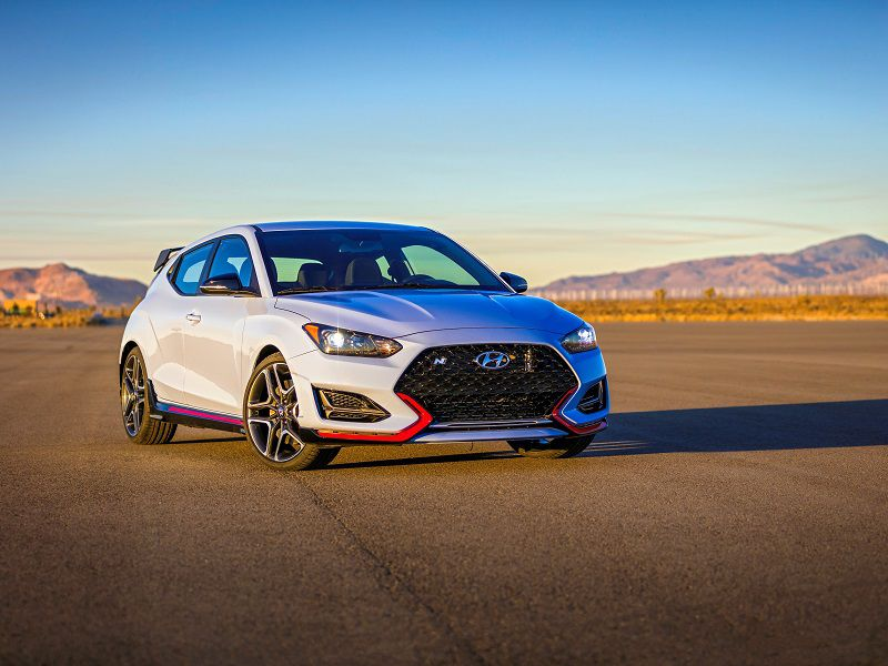 2019 Hyundai Veloster N Blue Parked Front Quarter