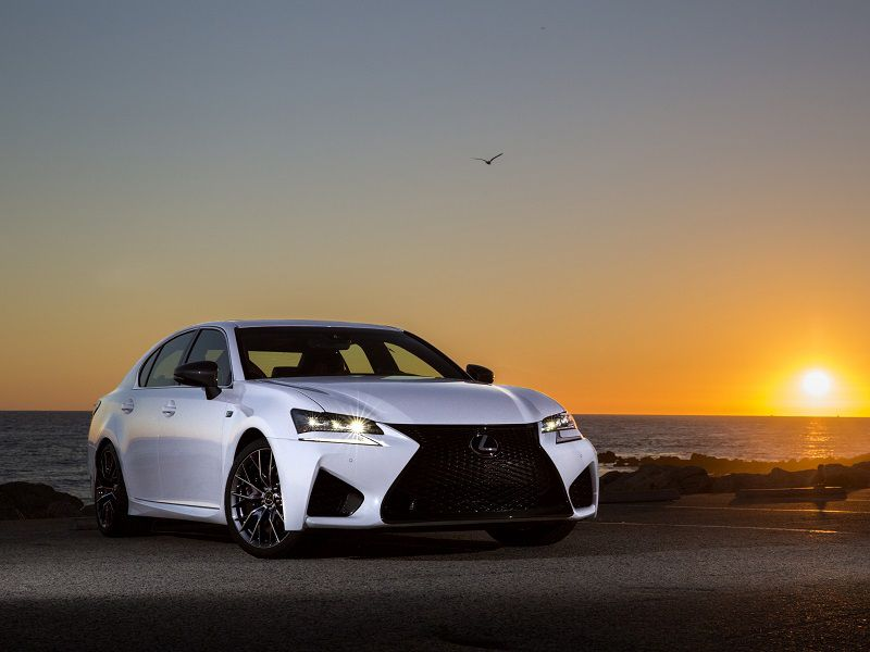 2019 Lexus GS F White Sunset Parked Front Three Quarter