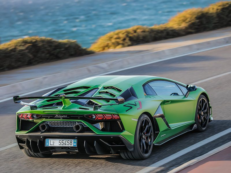 2019 Lamborghini Aventador SVJ Green Rear Three Quarter