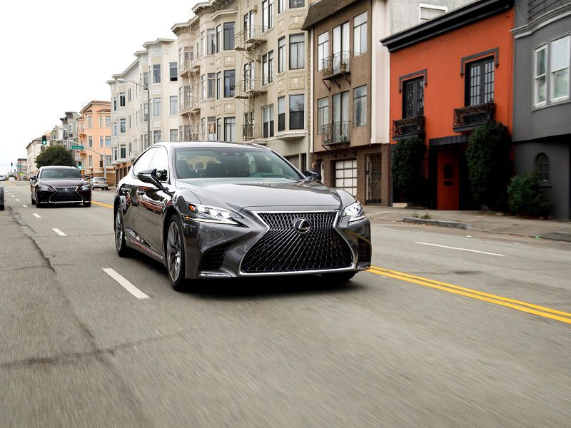 2019 Lexus LS500 Gray Driving Front Three Quarter