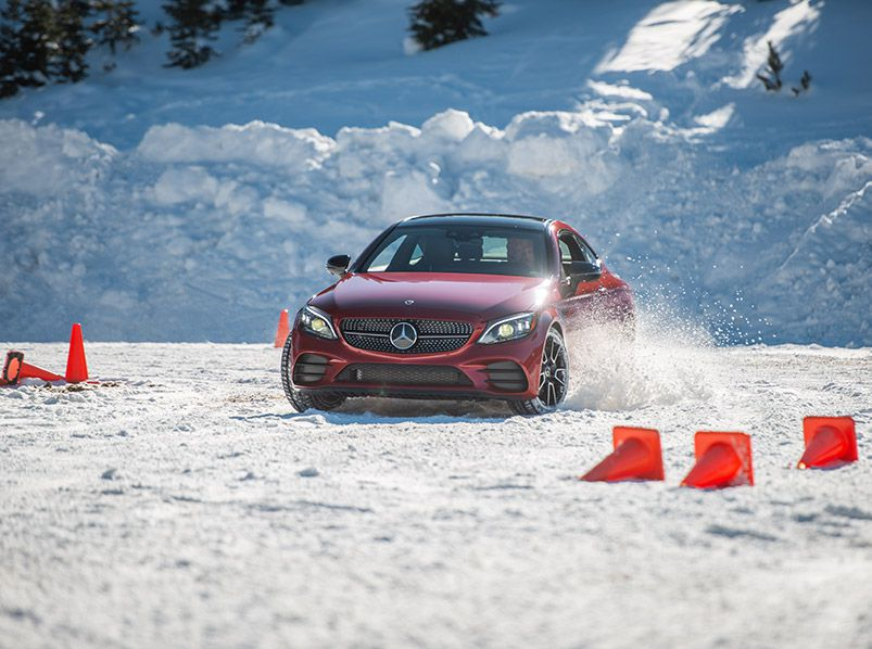 2019 Mercedes Benz C300 ice drive hero
