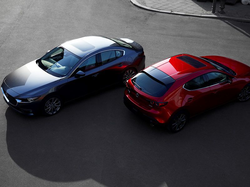 2019 Mazda Mazda3 Sedan Hatchback Top Three Quarter