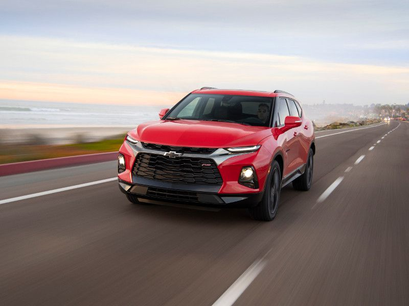 2019 Chevrolet Blazer RS red driving
