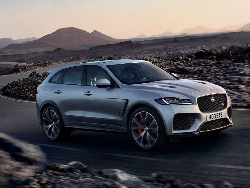 2020 Jaguar F Pace SVR Silver Driving Front Three Quarter