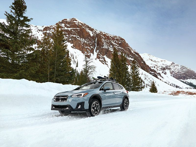 2020 Subaru Crosstrek front three quarter snow