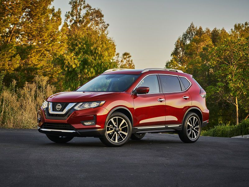 2020 Nissan Rogue Red Front Three Quarter 1