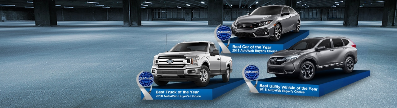 Check out the 2018 AutoWeb Buyers Choice Award Winners: Honda Civic, Honda CR-V and Ford F-150!